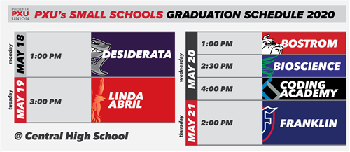 PXU Small Schools Graduation Schedule 2020
